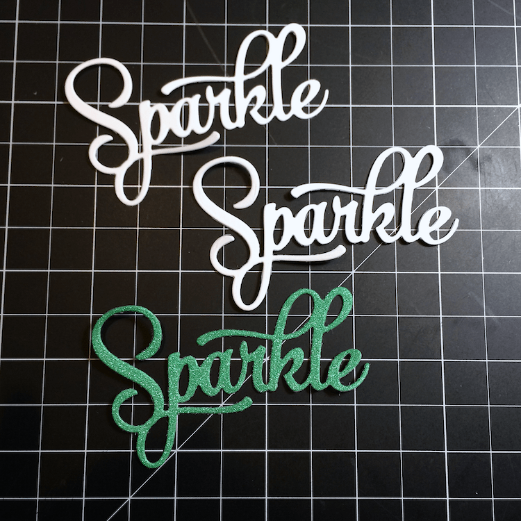 Embossing paste and glitter - because everything is better with glitter. Create a faux chipboard sentiment with multiple die cuts!