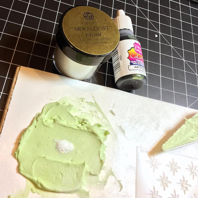 Embossing paste and glitter - because everything is better with glitter.