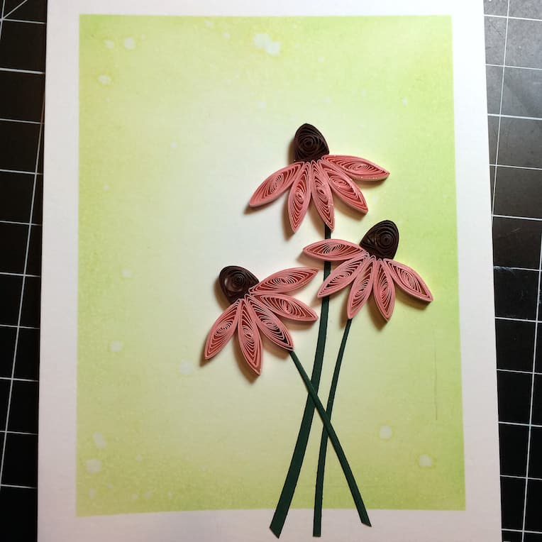 Setting up the background for a quilled coneflowers card.