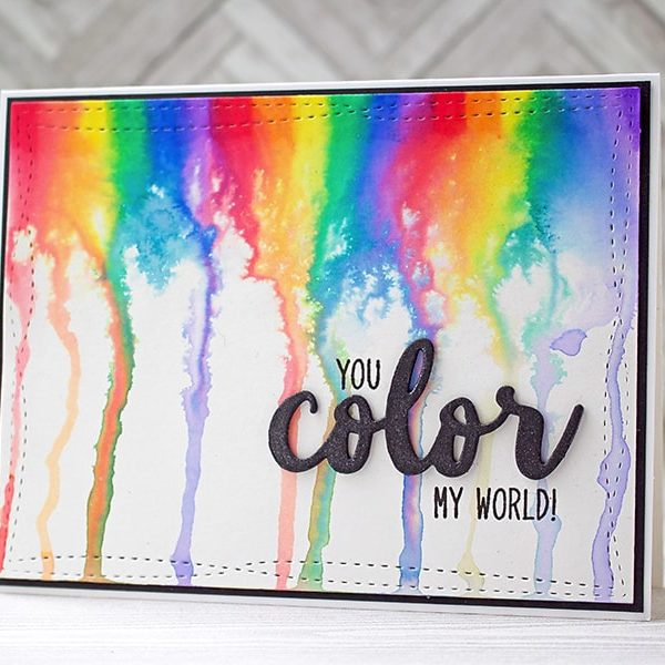 A Rainbow Melt Card with Zig Clean Color Brush Markers