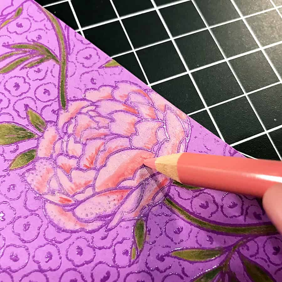 A Hand-Colored Floral Valentine, adding darker rosy colors to the inside of the flower