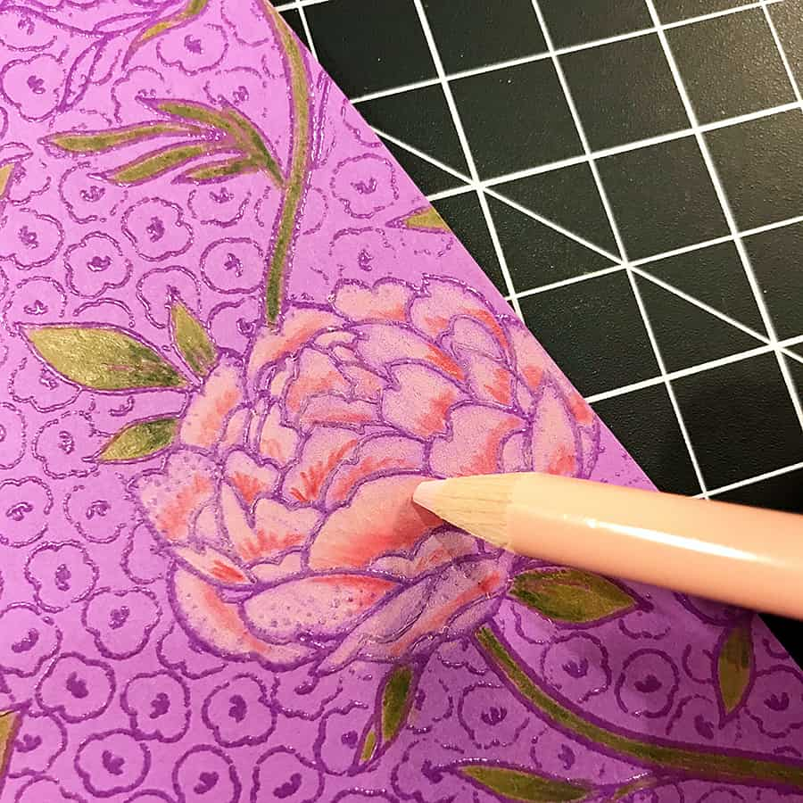 A Hand-Colored Floral Valentine, blending the darker colors to light with the lightest pencil shade