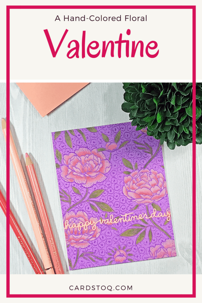 A Hand-Colored Floral Valentine, Pinterest Pin