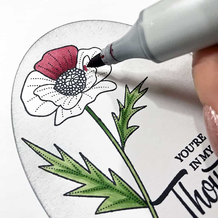 Coloring a Poppy With Copic Markers. Blending red ink on the poppy petals, one petal at a time
