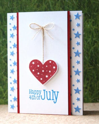 A Fourth of July Card Embossed With Paste