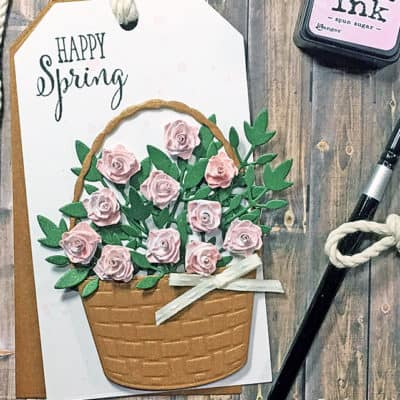 A Lovely Spring Tag With Quilled Tea Roses
