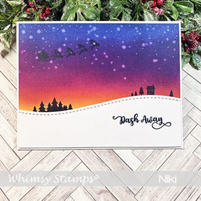 An Ink Blended Christmas Eve with Whimsy Stamps