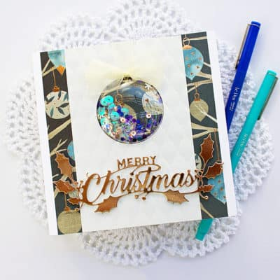 Square Shaker Ornament  Card for Christmas