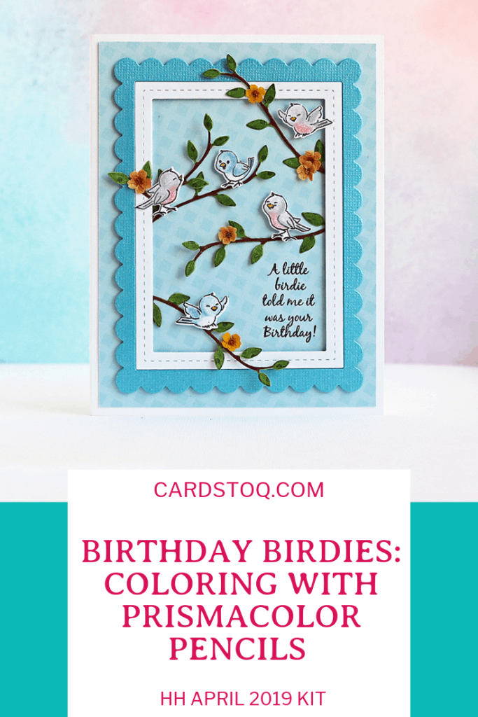 BIRTHDAY BIRDIES: Coloring with Prismacolor Pencils and the Hedgehog Hollow April 2019 Kit